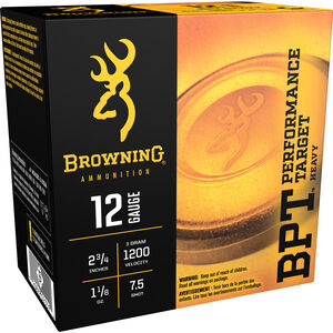 "Browning BPT Sporting Loads 12 Gauge Ammunition 2-3/4"" #7.5 Lead Shot 1-1/8 Ounce 1200 fps"