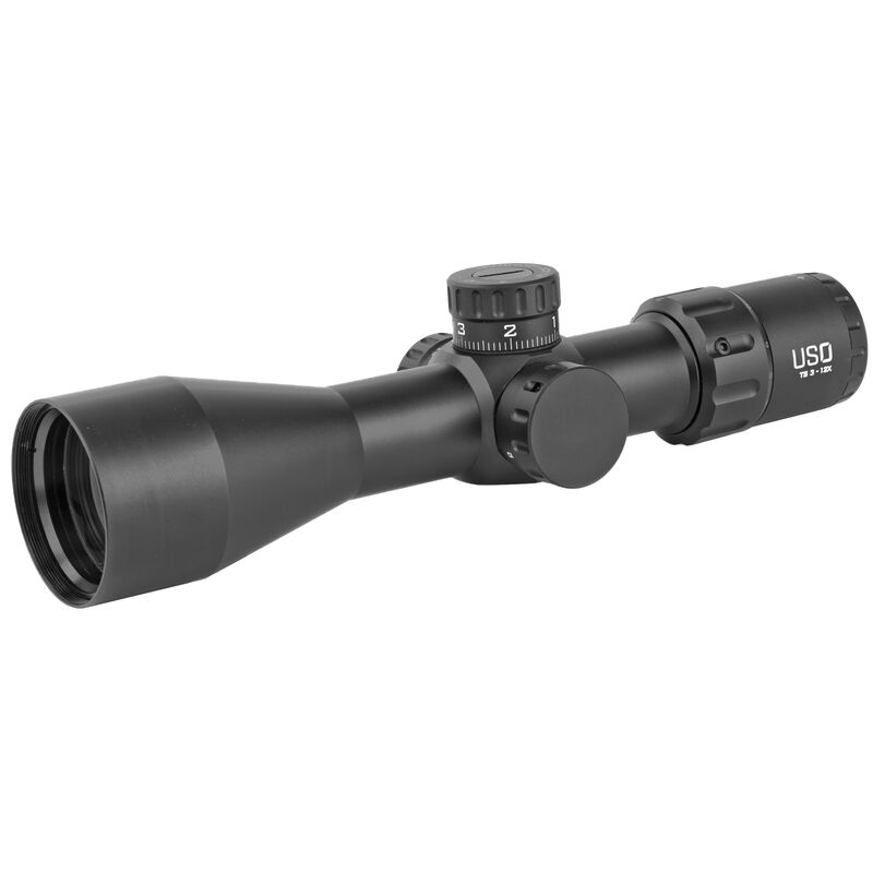 US Optics TS-12X TS Series 3-12x 44mm FFP Tactical Rifle Scope with MHR Mil Reticle 30mm Tube 0.1 MRAD Adjustment Mil Hunting Reticle Black