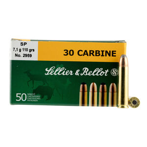 Sellier & Bellot .30 Carbine Ammunition 50 Rounds 110 Grain Jacketed Soft Point 2,001fps