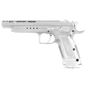 """EAA Witness Elite Gold Team Semi-auto Pistol 9mm 5.25"""" Barrel 17 Rounds, Compensater, No Sights, Drilled and Tapped, Single Action, Chrome"""