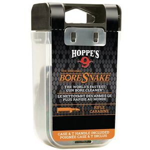 Hoppe's No. 9 Boresnake Snake Den 9mm/.38/.357 Caliber Rifle Length Pull Thru Bore Cleaning Rope with Bronze Brush and Carry Case with Pull Handle Lid