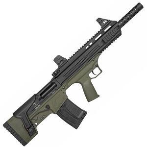 "ATI Bull-Dog SGA 12 Gauge Semi Automatic Bullpup Shotgun 18.5"" Barrel 3"" Chamber 5 Rounds Fixed Synthetic Stock Matte Black/Green Finish"