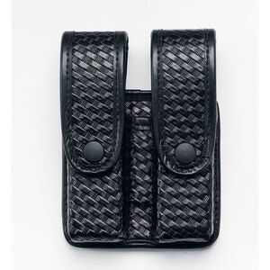 Uncle Mike's Double Fitted Pistol Magazine Case w/Retention Flap Glock/H&K Ambidextrous Mirage Basketweave Finish Black