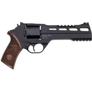 """Chiappa Rhino 60DS Double Action Revolver 9mm Luger 6"""" Barrel 6 Rounds Aluminum Alloy Frame Wood Grips Matte Black"""
