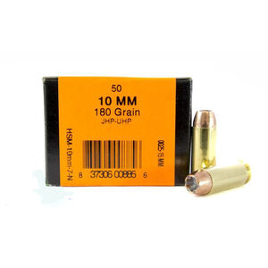 HSM 10mm Auto Ammunition 50 Rounds Speer UHP 180 Grains HSM-10mm-7-N