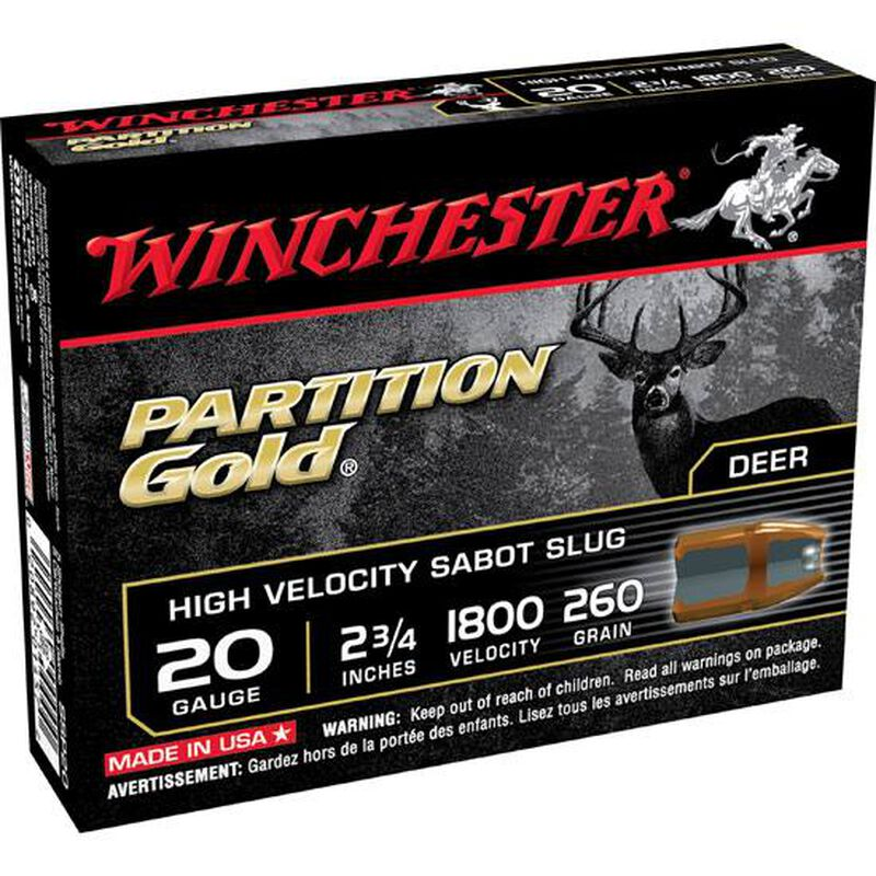 "Winchester 20 Gauge 2.75"" Sabot Slug 260 Grain Five Rounds"