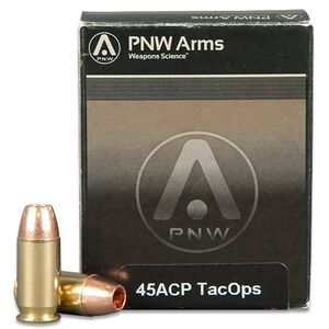 PNW .45 ACP Ammunition, 20 Rounds, TacOPS SCHP, 185 Grain