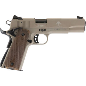 "American Tactical Imports GSG 1911 Semi Automatic Pistol 22 LR 5"" Barrel 10 Rounds Alloy Frame Wood Grips Tan"