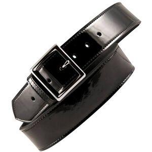 "Boston Leather 6505 Leather Garrison Belt 38"" Nickel Buckle Clarino Leather Black 6505-2-38"