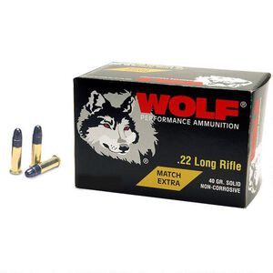 Wolf Performance Match Extra .22LR Ammunition Made by Eley in a 500 Round Brick 40 Grain LRN 1050 fps