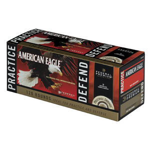 Federal Practice/Defend .380 ACP Ammunition 100 Rounds FMJ/20 Rounds JHP 95/90 Grains PAE38090