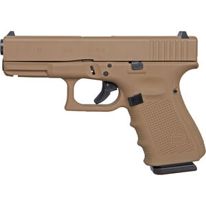 "GLOCK 19 Gen4 9mm Luger Compact Semi Auto Pistol 4.02"" Barrel 15 Rounds Interchangeable Backstraps Polymer Frame Apollo Custom Dark Earth Cerakote Finish"