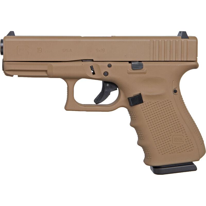 "G19 Gen4 9mm Luger Compact Semi Auto Pistol 4.02"" Barrel 15 Rounds Interchangeable Backstraps Polymer Frame Apollo Custom Dark Earth Cerakote Finish"