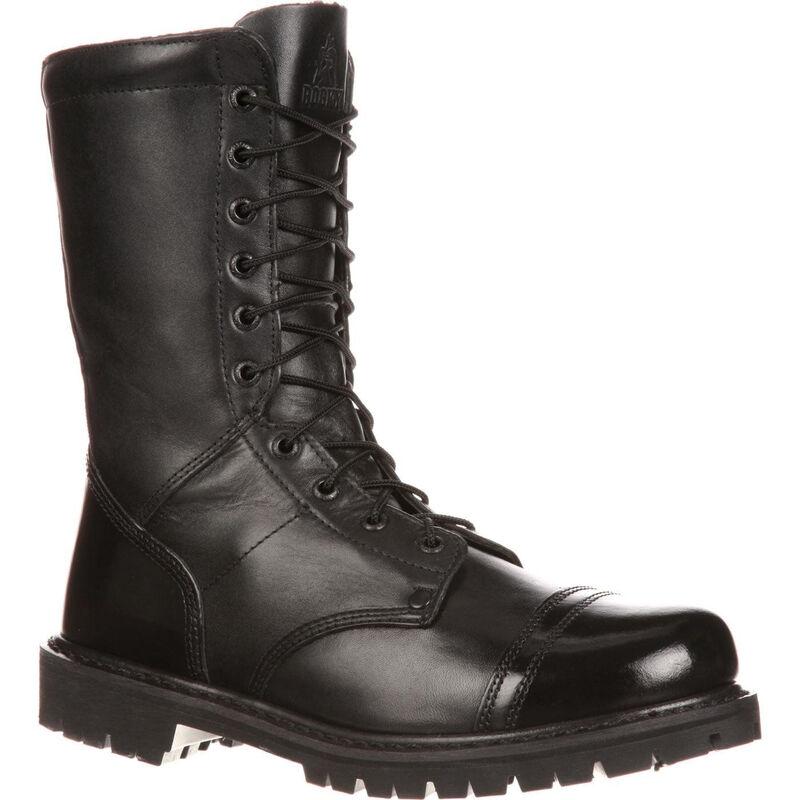 "Rocky International 10"" Side Zipper Men's Jump Boot Size 9 Leather Black"