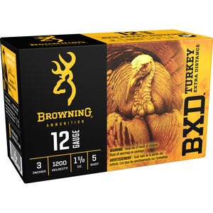 "Browning BXD Turkey 12 Gauge Ammunition 100 Rounds 3"" #5 Plated Lead 1.625 Ounce B193911235"