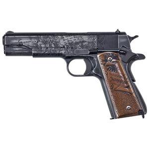 "Auto-Ordnance Revolution .45 ACP 1911 Semi Auto Pistol 5"" Barrel 7 Rounds Engraved Wood Grips Distressed Cerakote Midnight Blue Cerakote/Matte Clear Coat Finish"