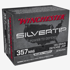 Winchester Silvertip .357 Mag Ammunition 145 Grain Silvertip JHP 1290 fps 20 Rounds per Box