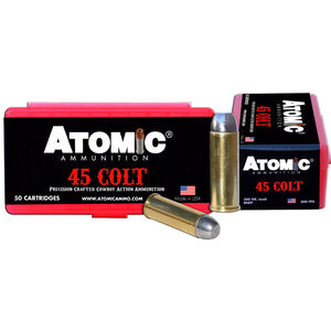 Atomic .45 Long Colt Ammunition 50 Rounds 200 Grain Lead Round Nose Flat Point Hard Cast Lead 800fps
