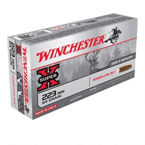 Winchester Super-X .223 Rem Ammunition 64 Grain Power-Core Lead Free Bullet 3020 fps