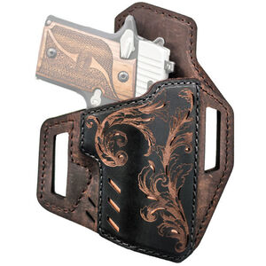 "Versacarry Decree Series Scroll Belt Slide Holster Size 1 Full Size Pistols with a 3.5"" Barrel Right Hand Leather Brown and Black 822211"