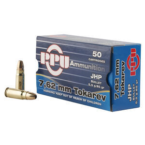 Prvi Partizan PPU 7.62x25 Tokarev Ammunition 50 Rounds 85 Grain Full Metal Jacket 1720fps