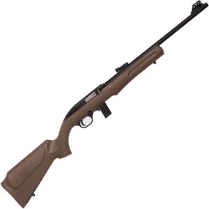 """Rossi RS22 .22 Long Rifle Semi-Auto Rifle 18"""" Barrel 10 Rounds Adjustable F/O Sights Brown Synthetic Stock Black Finish"""