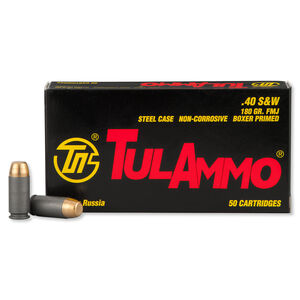 TulAmmo .40 S&W Ammunition 50 Rounds FMJ 180 Grains TA401800