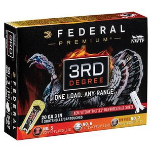 """Federal 3rd Degree 20 Gauge Ammunition 5 Rounds 3"""" #5/6/7 Mixed Pellet Three Stage Payload 1-7/16 Ounce 1100fps"""