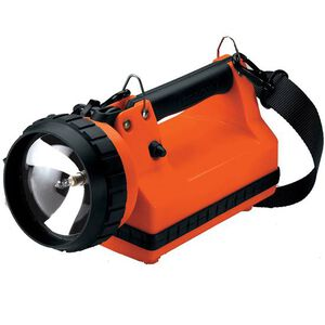 Streamlight LitBox Standard Halogen 8 Watt Spot Flashlight 150 Lumen Rechargeable Battery DC Charger Click Switch High Impact Polymer Body Orange 45116