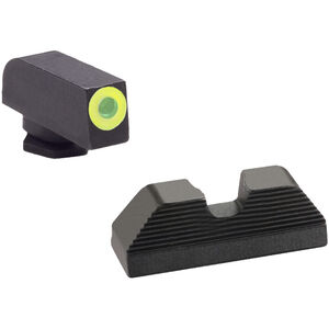 AmeriGlo UC Sights GLOCK 42/43 Green Tritium Green Outline Front U-Notch Black Serrated Rear Steel GL-352