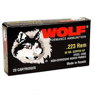 Wolf Polyformance .223 Remington Ammunition 500 Rounds JHP 62 Grains 22362HP