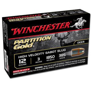 """Winchester Partition Gold 12 Ga 3"""" 385gr Sabot Slug 5 rds"""