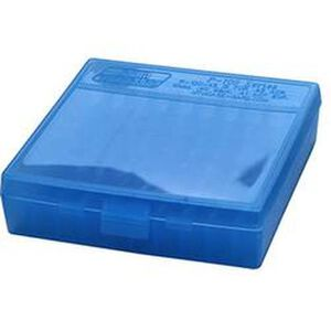 MTM Case-Gard P-100 Series .357 Magnum 100 Rounds Flip Top Handgun Cartridge Box Polymer Clear Blue P-100-3-24
