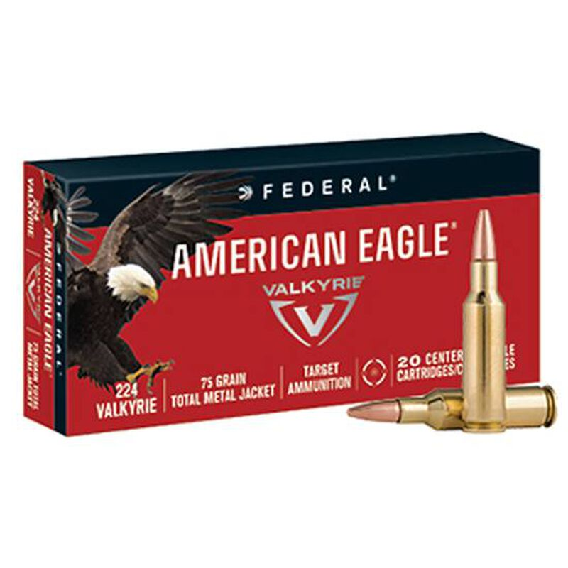 Federal American Eagle .224 Valkyrie Ammunition 20 Rounds 75 Grain Total Metal Jacket 3000fps