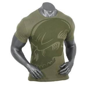 Voodoo Tactical Men's Short Sleeve Subdued Skull Tee Shirt Cotton Large OD Green