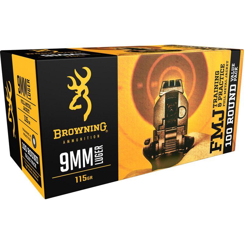 Browning 9mm Luger Ammunition 100 Rounds 115 Grain FMJ 1190 fps
