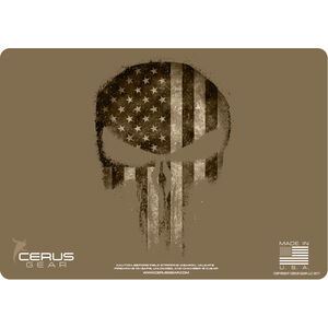 "Cerus Gear Reaper American Flag ProMat Handgun Size 12""x17"" Synthetic Reaper Skull with US Flag on Coyote Tan Background"
