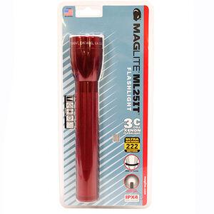 MagLite 3C Cell Xenon Flashlight 63 Lumens Aluminum Red