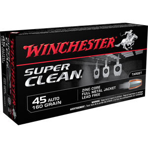 Winchester Super Clean .45 ACP Ammunition 160 Grain Zinc Lead Free FMJ 1100 fps