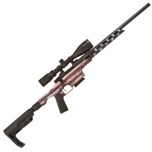 """Howa Mini EXCL Lite 6.5 Grendel Bolt Action Rifle 20"""" Threaded Barrel 5 Rounds Nikko Stirling 4-12x40 Scope Synthetic Stock Folding Stock Chassis US Flag"""