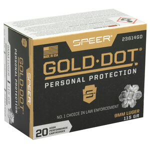 Speer Gold Dot Personal Protection 9mm Luger Ammunition 20 Rounds 115 Grain Gold Dot Hollow Point 1210fps