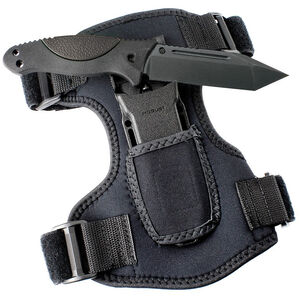"Hogue EX-FO2 Fixed 4.5"" Plain Edge Tanto Point Black 410 Steel Blade Black Rubber Overmolded Grip with Black Neoprene Leg Mount Sheath"