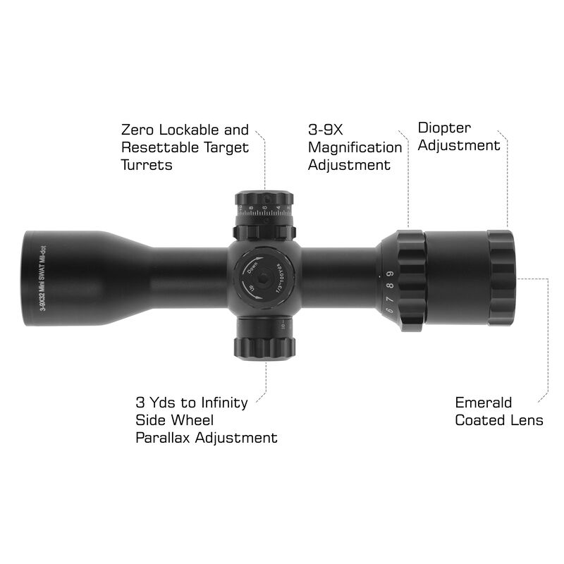 "UTG 1"" BugBuster 3-9X32 Scope, Side AO, Mil-dot, DT Rings"