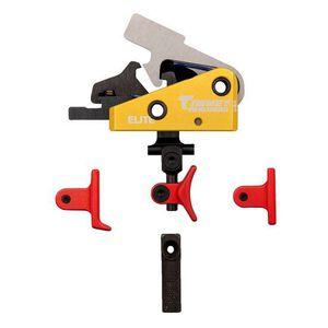 Timney Triggers Calvin Elite Custom AR Drop In Trigger Multi Red Trigger Shoe 1.5LB Pull Aluminum Housing Yellow