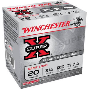 "Winchester Super X Game Load 20 Gauge Ammunition 25 Rounds 2.75"" #7.5 Lead 7/8 Ounce XU207"