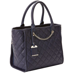 Bulldog Tote Style Purse Quilted Blue Nylon