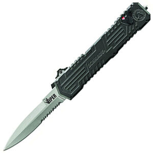 """Schrade Viper Out The Front Assisted Opening 3.5"""" Serrated Double Edged Spear Point 4034 Stainless Steel Blade with Aluminum Handle Black"""