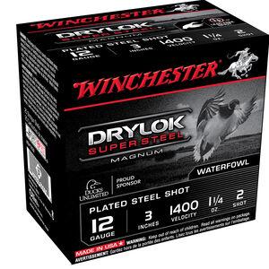 """Winchester Drylok Super Steel 12 Gauge Ammunition 25 Round Box 3"""" #2 Plated Steel Shot 1-1/4 oz 1400 fps"""