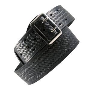 "Boston Leather 6501 Sam Browne Leather Duty Belt 42"" Brass Buckle Basket Weave Leather Brown"
