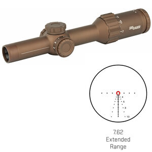 SIG Sauer Tango6 1-6x24 Riflescope Illuminated 762 Extended Range Reticle 30mm Tube .20 MRAD Adjustments Fixed Parallax First Focal Plane CR2032 Battery FDE